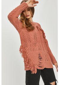 Różowy sweter Answear Lab wakacyjny, z długim rękawem