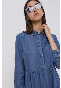 Vila - Sukienka. Okazja: na co dzień. Kolor: niebieski. Materiał: tkanina, jedwab, materiał, lyocell. Długość rękawa: długi rękaw. Wzór: gładki. Typ sukienki: proste. Styl: casual