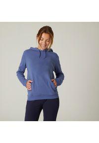 DOMYOS - Bluza z kapturem fitness damska Nyamba. Typ kołnierza: kaptur. Materiał: bawełna, dzianina, włókno, materiał. Wzór: ze splotem. Sport: fitness