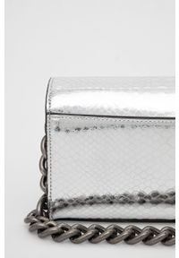 Kurt Geiger London - Kopertówka skórzana. Kolor: srebrny. Materiał: skórzane. Rodzaj torebki: na ramię