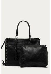 Czarna shopperka Answear Lab na ramię, duża, gładkie, wakacyjna