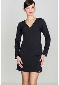 Czarna sukienka Katrus z długim rękawem, prosta