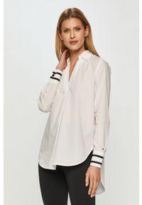 Biała bluzka TOMMY HILFIGER z długim rękawem, casualowa, z aplikacjami, długa