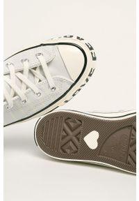 Szare tenisówki Converse na sznurówki, z okrągłym noskiem, z cholewką #5