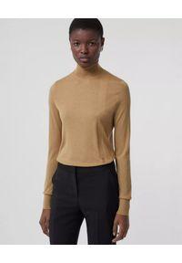 Burberry - BURBERRY - Beżowy sweter z golfem. Typ kołnierza: golf. Kolor: beżowy. Materiał: kaszmir, wełna. Wzór: haft