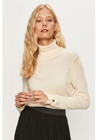 Kremowy sweter Vero Moda z golfem, na co dzień, z długim rękawem