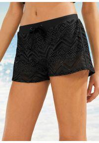 Czarny strój kąpielowy bonprix w koronkowe wzory