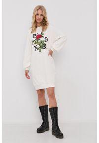 Pinko - Sukienka. Okazja: na co dzień. Kolor: biały. Materiał: dzianina. Długość rękawa: długi rękaw. Typ sukienki: proste. Styl: casual