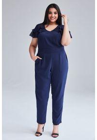 Niebieski kombinezon Moda Size Plus Iwanek z krótkim rękawem, na lato, krótki, na co dzień