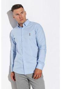 Niebieska koszula Edward Orlovski z klasycznym kołnierzykiem, elegancka, z krótkim rękawem, krótka