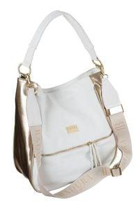 Shopper damski biało-złoty Badura T_D163BI/ZŁ_CD. Kolor: biały, wielokolorowy, złoty. Materiał: skórzane. Rodzaj torebki: na ramię