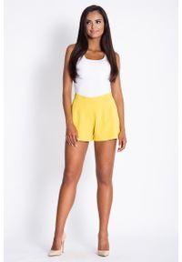 Żółte spodnie z wysokim stanem Dursi krótkie, eleganckie