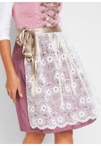 Sukienka w ludowym stylu z koronkowym fartuchem bonprix matowy jeżynowy wzorzysty. Kolor: różowy. Materiał: koronka