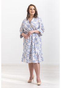 Niebieska sukienka Moda Size Plus Iwanek midi, na wiosnę, z falbankami