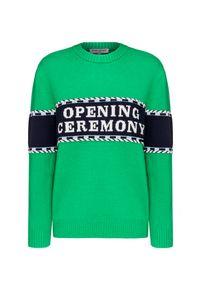 Zielony sweter Opening Ceremony z aplikacjami, z kontrastowym kołnierzykiem