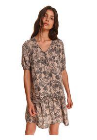 TOP SECRET - Sukienka z bufiastymi rękawami. Typ kołnierza: dekolt w serek. Kolor: kremowy. Materiał: dzianina. Sezon: jesień. Długość: mini