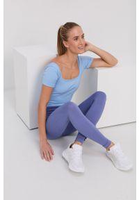 adidas Performance - Legginsy. Stan: podwyższony. Kolor: niebieski. Sport: fitness