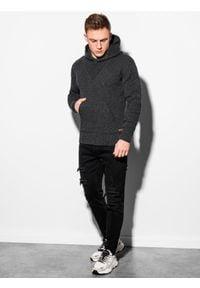 Ombre Clothing - Sweter męski E181 - grafitowy - XXL. Kolor: szary. Materiał: akryl