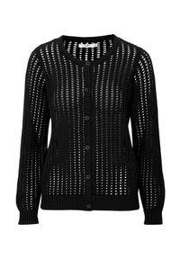 Cellbes Krótki rozpinany sweter z guzikami Czarny female czarny 62/64. Kolor: czarny. Materiał: prążkowany. Długość rękawa: długi rękaw. Długość: krótkie