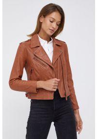Pepe Jeans - Ramoneska skórzana Megan. Okazja: na co dzień. Kolor: brązowy. Materiał: skóra. Styl: klasyczny, casual