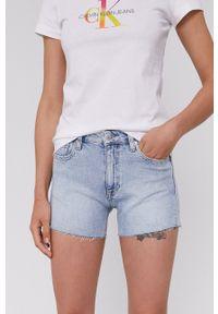 Calvin Klein Jeans - Szorty jeansowe. Okazja: na co dzień. Kolor: niebieski. Materiał: tkanina. Wzór: gładki. Styl: casual