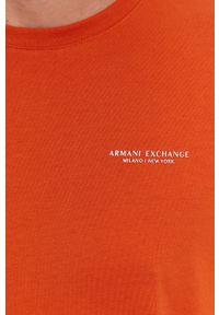 Armani Exchange - T-shirt bawełniany. Okazja: na co dzień. Kolor: pomarańczowy. Materiał: bawełna. Wzór: gładki. Styl: casual