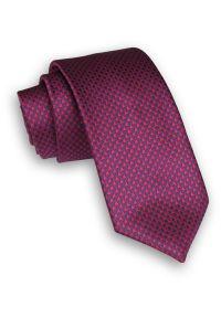 Alties - Czerwono-Chabrowy Klasyczny Męski Krawat w Drobny Wzór -ALTIES- 7cm, Szeroki, w Pepitkę. Kolor: niebieski, czerwony, wielokolorowy. Materiał: tkanina. Styl: klasyczny