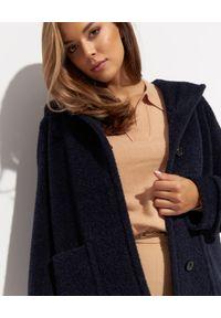 CINZIA ROCCA - Granatowy płaszcz z kapturem. Typ kołnierza: kaptur. Kolor: niebieski. Materiał: wełna