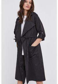 Czarny płaszcz Answear Lab gładki, wakacyjny, na co dzień