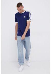 adidas Originals - T-shirt bawełniany. Kolor: niebieski. Materiał: bawełna. Długość rękawa: raglanowy rękaw. Wzór: aplikacja