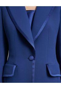 Luisa Spagnoli - LUISA SPAGNOLI - Niebieska marynarka Senesi. Kolor: niebieski. Materiał: satyna, materiał. Wzór: aplikacja