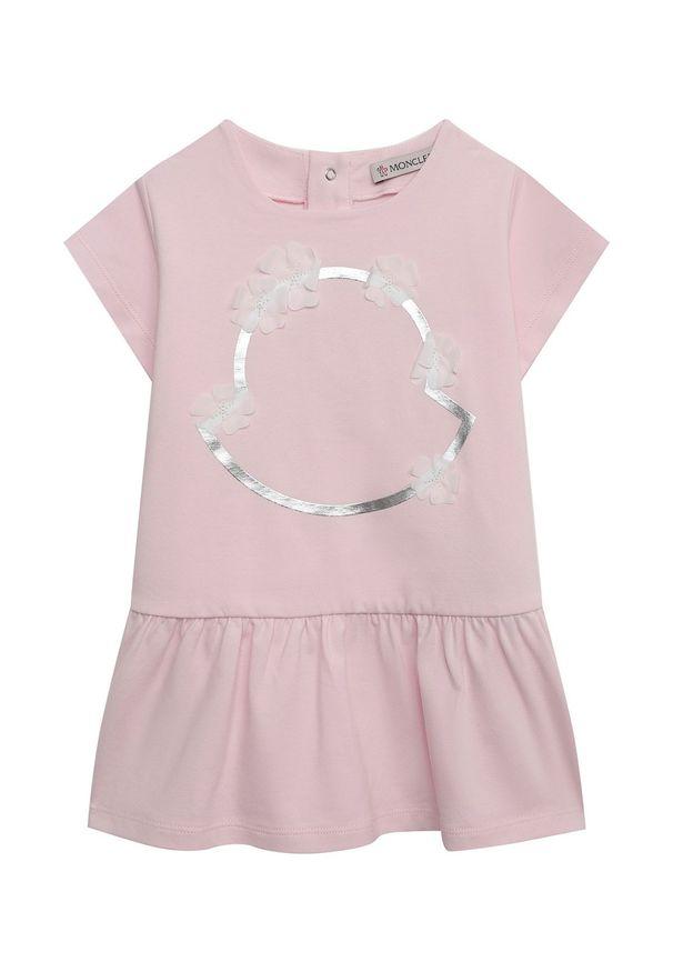 MONCLER KIDS - Różowa sukienka ze zdobieniem 0-3 lat. Kolor: różowy, wielokolorowy, fioletowy. Wzór: aplikacja. Sezon: lato