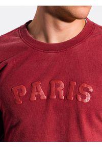 Ombre Clothing - Bluza męska bez kaptura z nadrukiem B1027 - czerwona - XXL. Typ kołnierza: bez kaptura. Kolor: czerwony. Materiał: bawełna. Wzór: nadruk. Styl: klasyczny