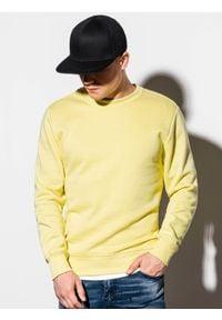 Ombre Clothing - Bluza męska bez kaptura B978 - jasnożółta - XXL. Okazja: na co dzień. Typ kołnierza: bez kaptura. Kolor: żółty. Materiał: poliester, materiał, bawełna. Styl: klasyczny, casual