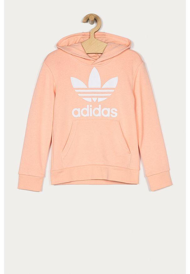 Różowa bluza adidas Originals z nadrukiem, casualowa, z kapturem, na co dzień