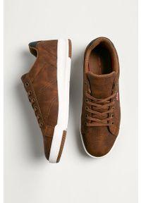 Brązowe sneakersy Levi's® z cholewką, w kolorowe wzory, na spotkanie biznesowe, z okrągłym noskiem