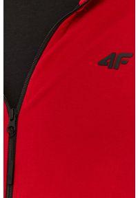 Czerwona bluza rozpinana 4f z kapturem, gładkie, casualowa, na co dzień