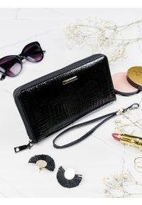 LORENTI - Skórzany portfel damski czarny Lorenti 76119. Kolor: czarny. Materiał: skóra