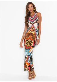 Letnia sukienka bonprix czarno-brązowo-pomarańczowy z nadrukiem. Kolor: czarny. Wzór: nadruk. Sezon: lato