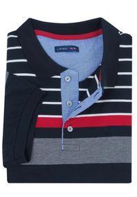 Lanieri Fashion - Granatowa męska koszulka polo w czerwono-białe paski KP14. Typ kołnierza: polo. Kolor: niebieski, biały, wielokolorowy, czerwony. Materiał: bawełna, materiał. Długość: krótkie. Wzór: paski