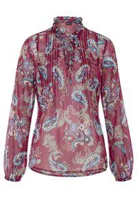 Fioletowa bluzka bonprix ze stójką, długa, paisley, z długim rękawem