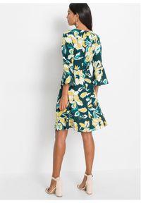 Zielona sukienka bonprix z nadrukiem, na lato