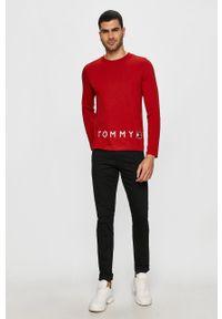 Czerwona koszulka z długim rękawem TOMMY HILFIGER casualowa, na co dzień