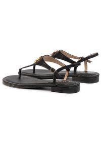 Czarne sandały Lauren Ralph Lauren z aplikacjami, na obcasie