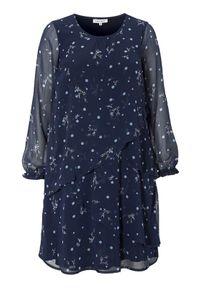 Niebieska sukienka Zhenzi z długim rękawem, z falbankami