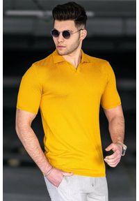 Żółty t-shirt IVET polo, na co dzień, casualowy