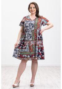 Sukienka Moda Size Plus Iwanek midi, z nadrukiem, oversize