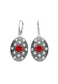 Polcarat Design - Srebrne oksydowane kolczyki z kryształami Swarovski K 1996. Materiał: srebrne. Kolor: srebrny. Kamień szlachetny: kryształ