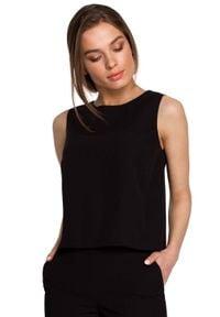 MOE - Krótka Bluzka bez Rękawów - Czarna. Kolor: czarny. Materiał: elastan, wiskoza, poliester. Długość rękawa: bez rękawów. Długość: krótkie
