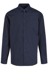 Niebieska koszula biznesowa Karl Lagerfeld z dekoltem karo